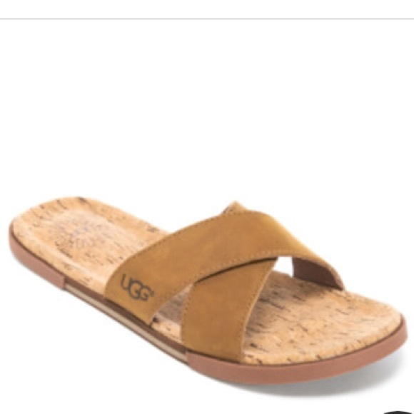 a837bd87429 New UGG Men's Cork Double Strap Leather Slide NWT